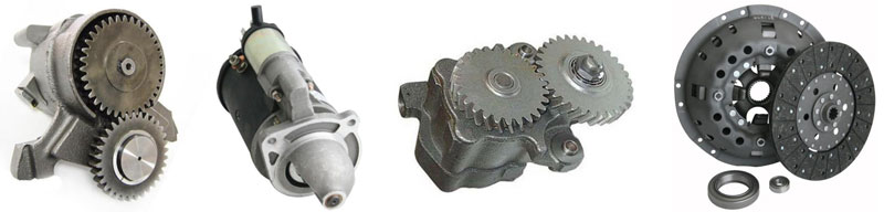 Ford industrial engine parts including clutch kits, oil pumps and starter motors
